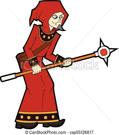 416x470 Fantasy Battle Mage With A Staff. Illustration Cartoon Vector