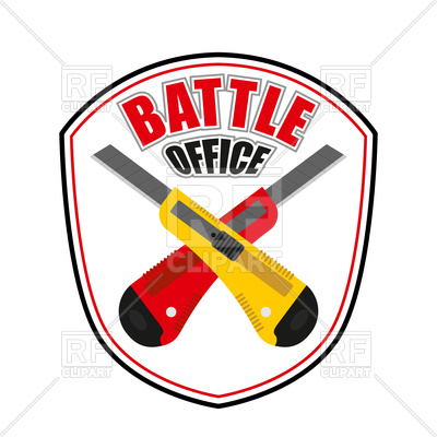 400x400 Office Battle Emblem, Two Crossed Stationery Knife Royalty Free