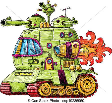 450x414 A Groovy, Cartoon Rocket Tank, Ready For Battle. Clipart Vector