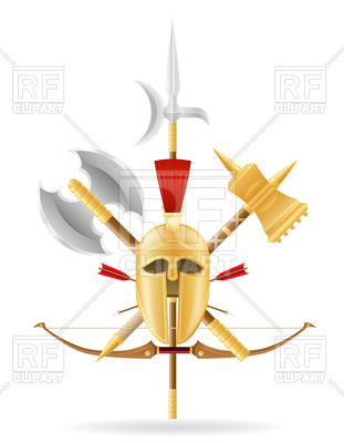 311x400 Ancient Battle Knight Weapons Emblem Royalty Free Vector Clip Art