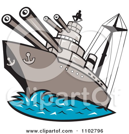 450x470 Royalty Free (Rf) Clipart Illustration Of A Retro Battleship