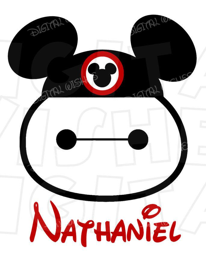 685x850 Big Hero 6 Baymax With Mickey Mouse Ears Digital Iron On Transfer