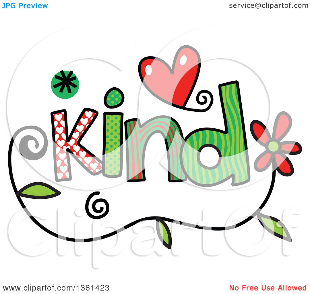 1080x1024 Clipart Of Colorful Sketched Kind Word Art