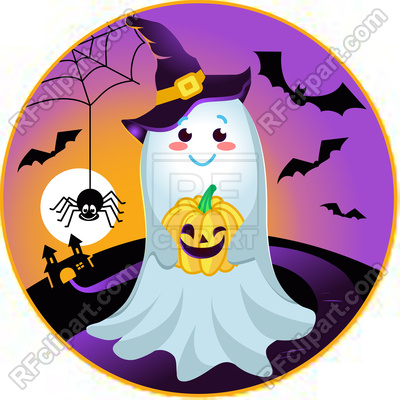 400x400 Halloween Smiling, Kind Ghost Holding Pumpkin Royalty Free Vector