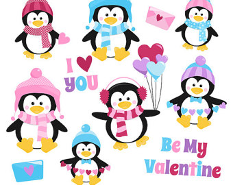 340x270 Penguin Valentine Clip Art Digital Clipart Valentine