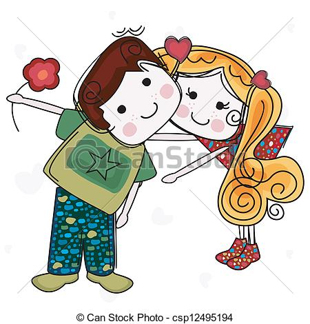450x470 Be My Valentine Card With Girl And Boy Eps Vectors