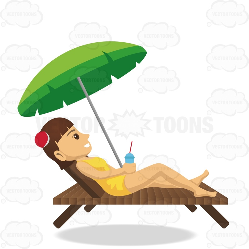 800x800 Brunette Female Tourist Laying On Beach Chair While Holding