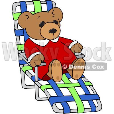 400x400 Clipart Of A Teddy Bear Relaxing On A Beach Chair