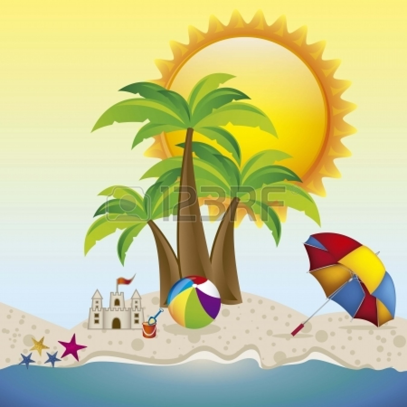 1350x1350 Beach Vacation Clip Art