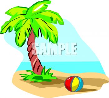 350x314 Royalty Free Clipart Image Cartoon Of Palm Treend Ball On