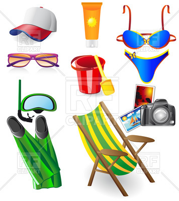356x400 Summer Resort And Beach Rest Objects Royalty Free Vector Clip Art