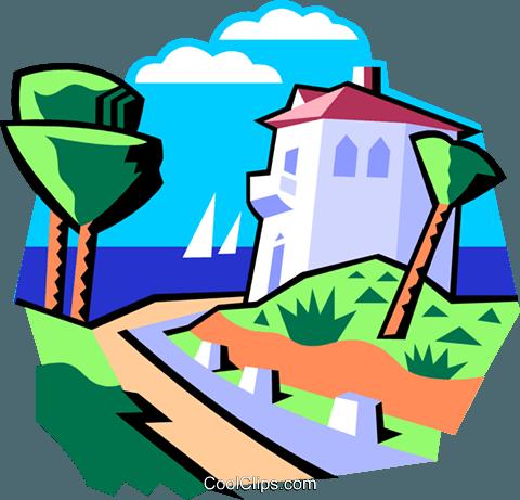 480x461 Beach House Royalty Free Vector Clip Art Illustration Natu0858
