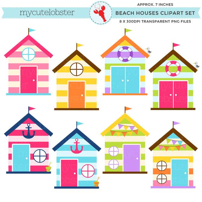 670x670 Beach Houses Clipart Set Clip Art Set Of Beach Houses Huts