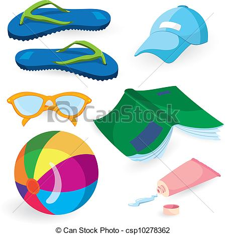 450x467 Beach Fun Items Isolated On White Background Vector Clip Art