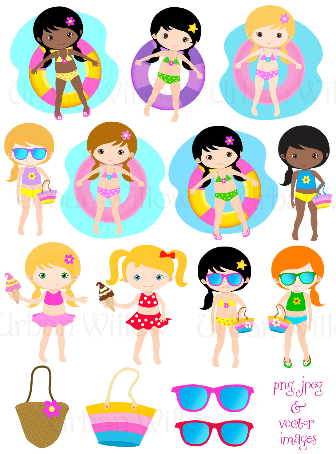 1093x1477 Pool Party Clip Art, Vector Graphics Cute Girls Swimming, Summer