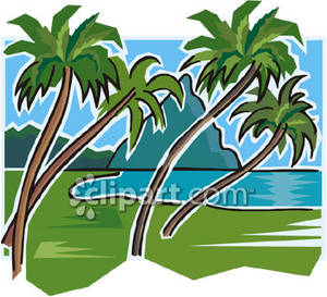 300x273 A Beach Scene With Palm Trees And Mountains Royalty Free Clipart