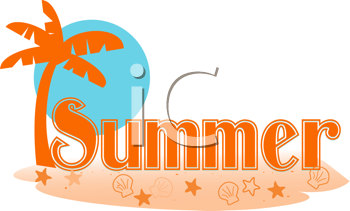 350x211 Royalty Free Clipart Image Of Seasonal Summer Type With A Beach