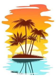 236x331 Beach Scene Tropical Abstract Background With Palms And Sunset