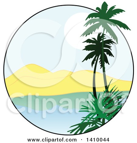 450x470 Clipart Illustration Of A Beautiful Tropical Beach Scene By Dero