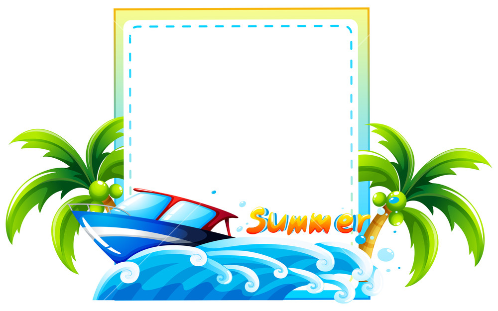 1000x625 Frame Of Summer Theme With Beach And Boat Royalty Free Stock Image