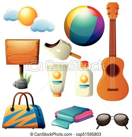 450x465 Summer Theme With Board And Beachwares Illustration Vector Clipart