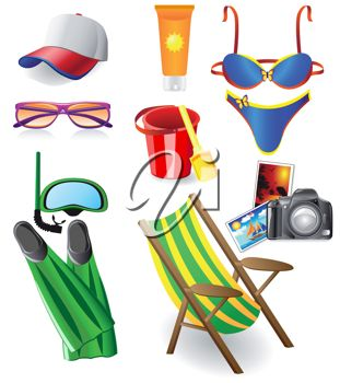 311x350 Clip Art Illustration Of Beach Themed Objects