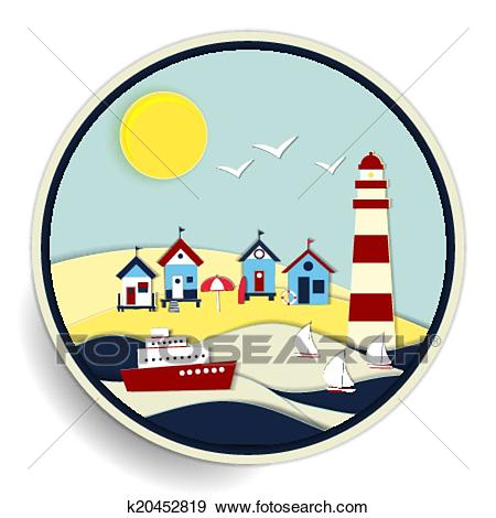 450x470 Seascape Clipart Beach Themed