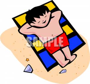 300x281 Royalty Free Clipart Image A Cartoon Boy Relaxing On A Beach Towel