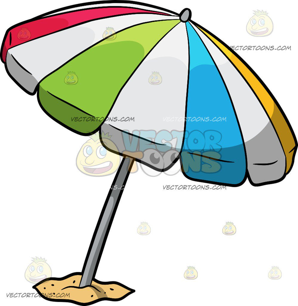999x1024 A Beach Umbrella Cartoon Clipart Vector Toons
