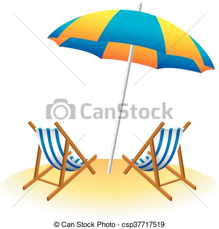 450x470 Vector Illustration Of Beach Umbrella And Deck Chairs.