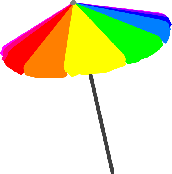 594x601 Beach Umbrella, Primary Clip Art