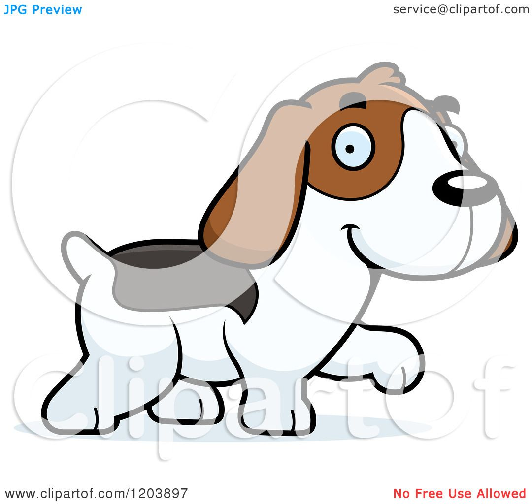 1080x1024 Cartoon Of A Cute Beagle Puppy Walking