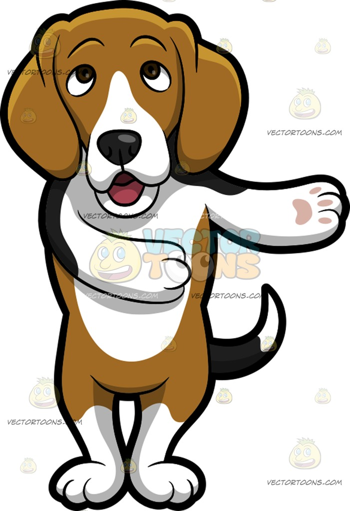 701x1024 An Adorable Beagle Making A Point Cartoon Clipart Vector Toons