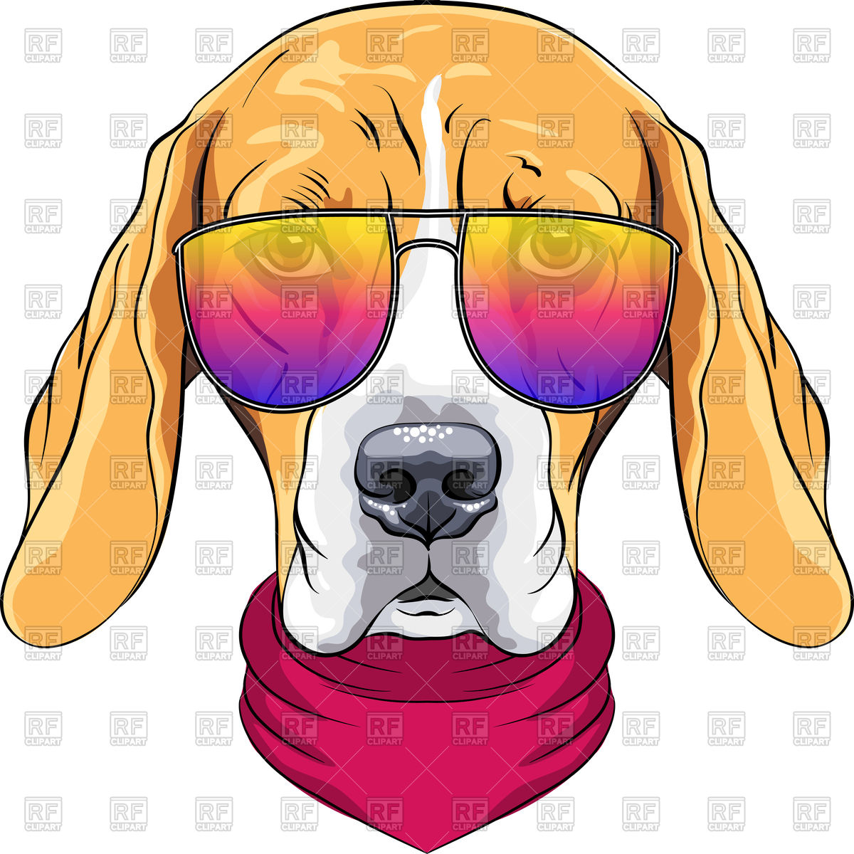 1200x1200 Portrait Of Hipster Dog Beagle In Sunglass Royalty Free Vector