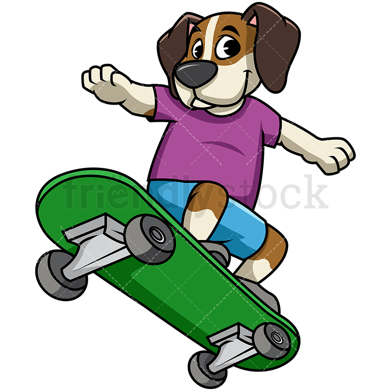800x800 Beagle Dog Skateboarding Cartoon Vector Clipart