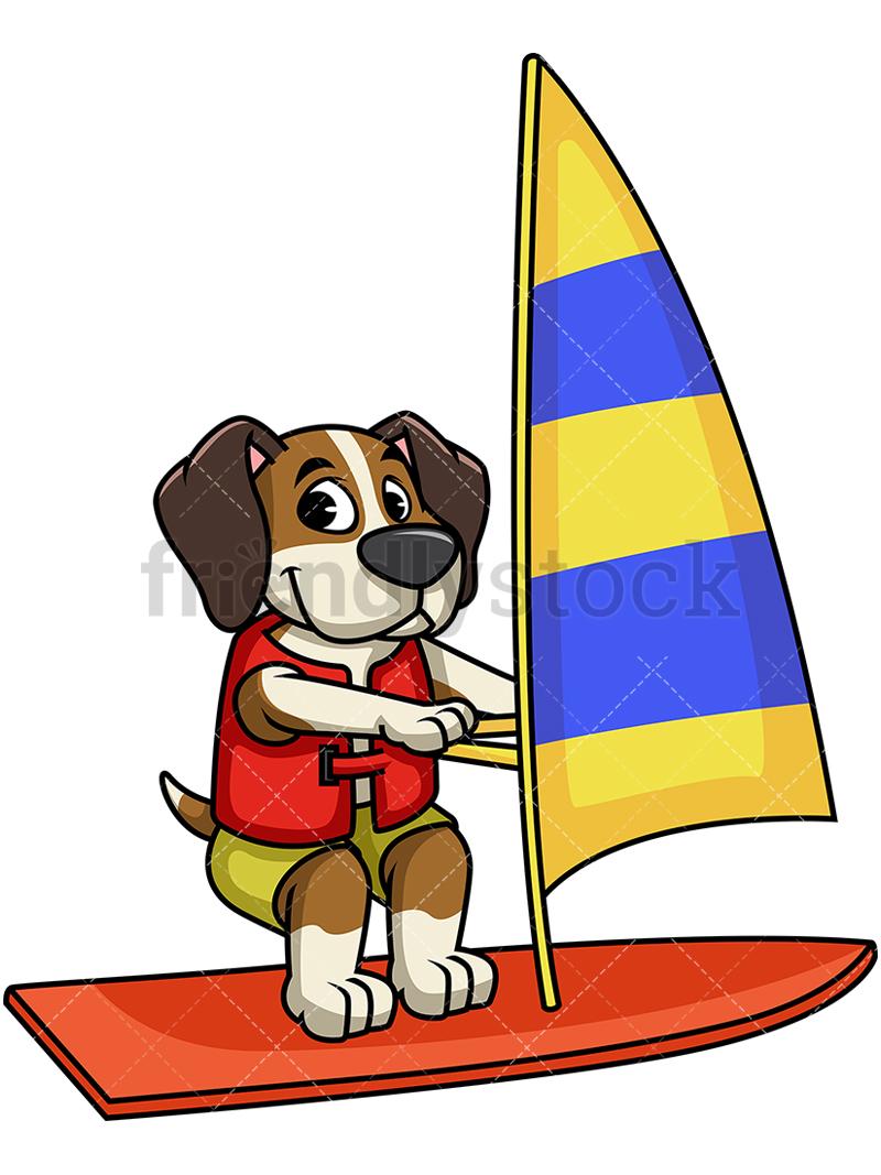 800x1067 Beagle Dog Windsurfing Cartoon Vector Clipart