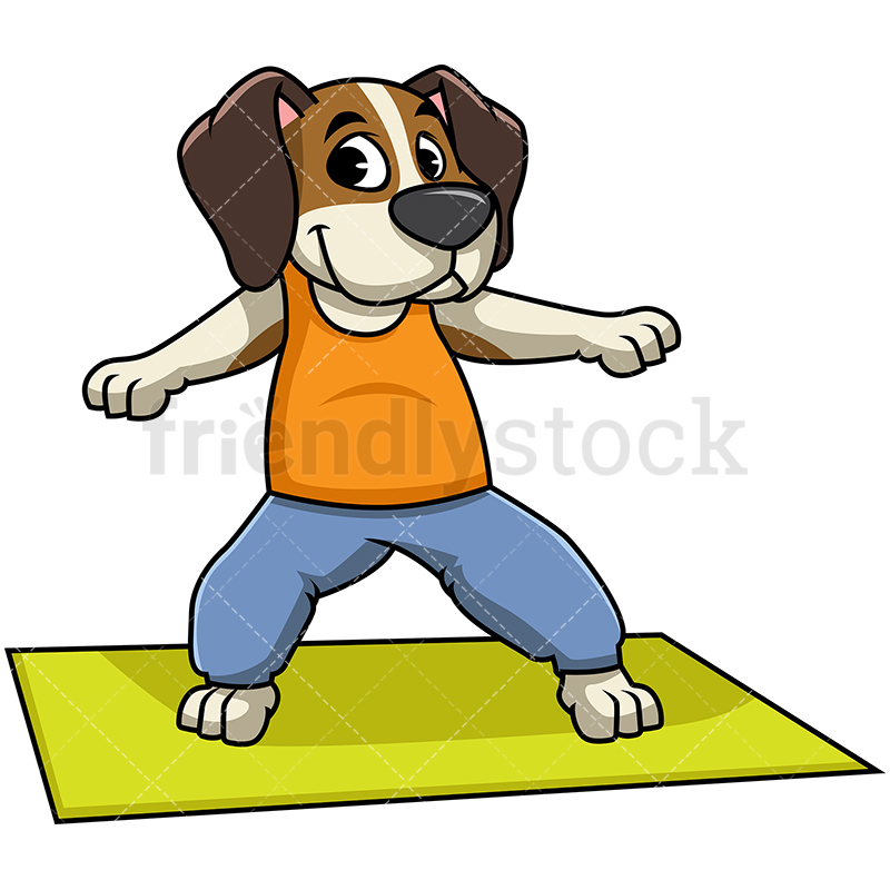 800x800 Beagle Dog Doing Yoga Cartoon Vector Clipart