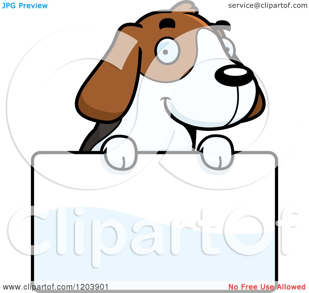 1080x1024 Cartoon Of A Cute Beagle Puppy Over A Sign