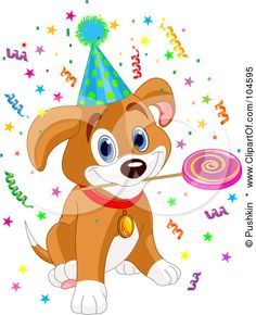 236x290 Cartoon Of A Cute Birthday Beagle Puppy Dog With Party Balloons