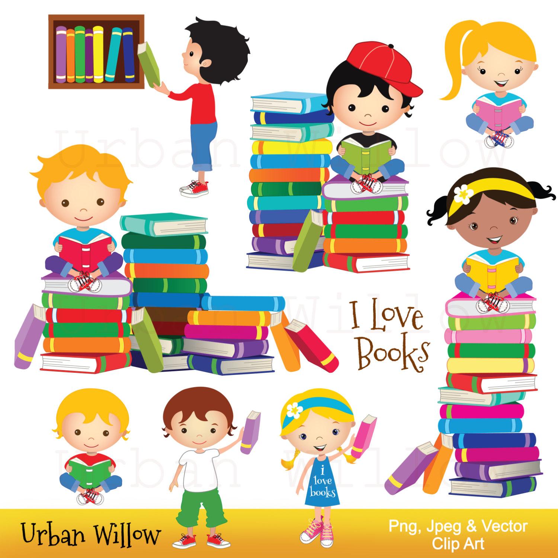 1500x1500 Clip Art Kids Reading Books Graphics School Kid Cute