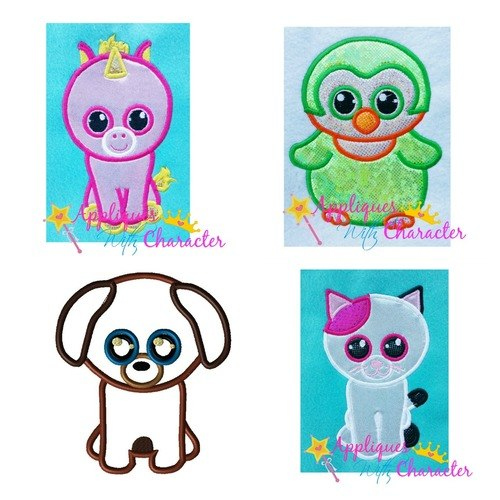 500x500 Beanie Boo Cat Applique Design By Appliques With Character
