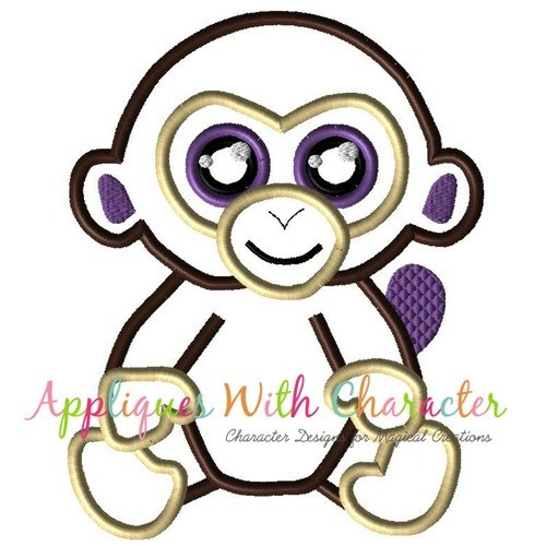 500x500 Beanie Boo Monkey Applique Design By Appliques With Character