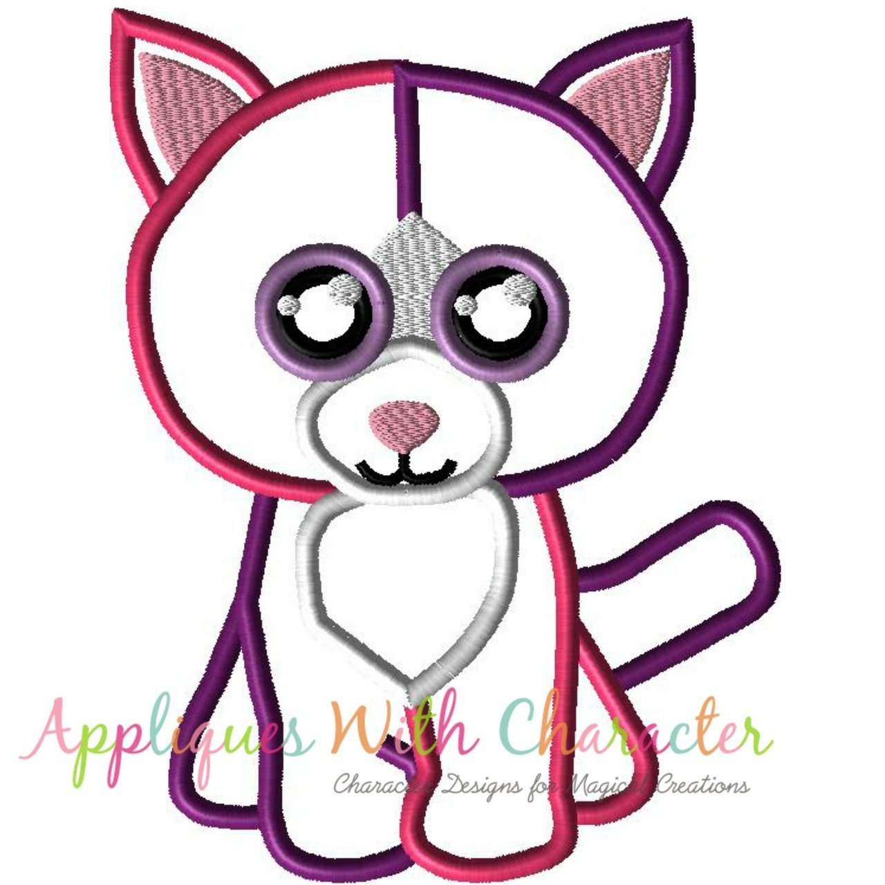 1280x1280 Beanie Boo Pellie Cat Applique Design By Appliques With Character