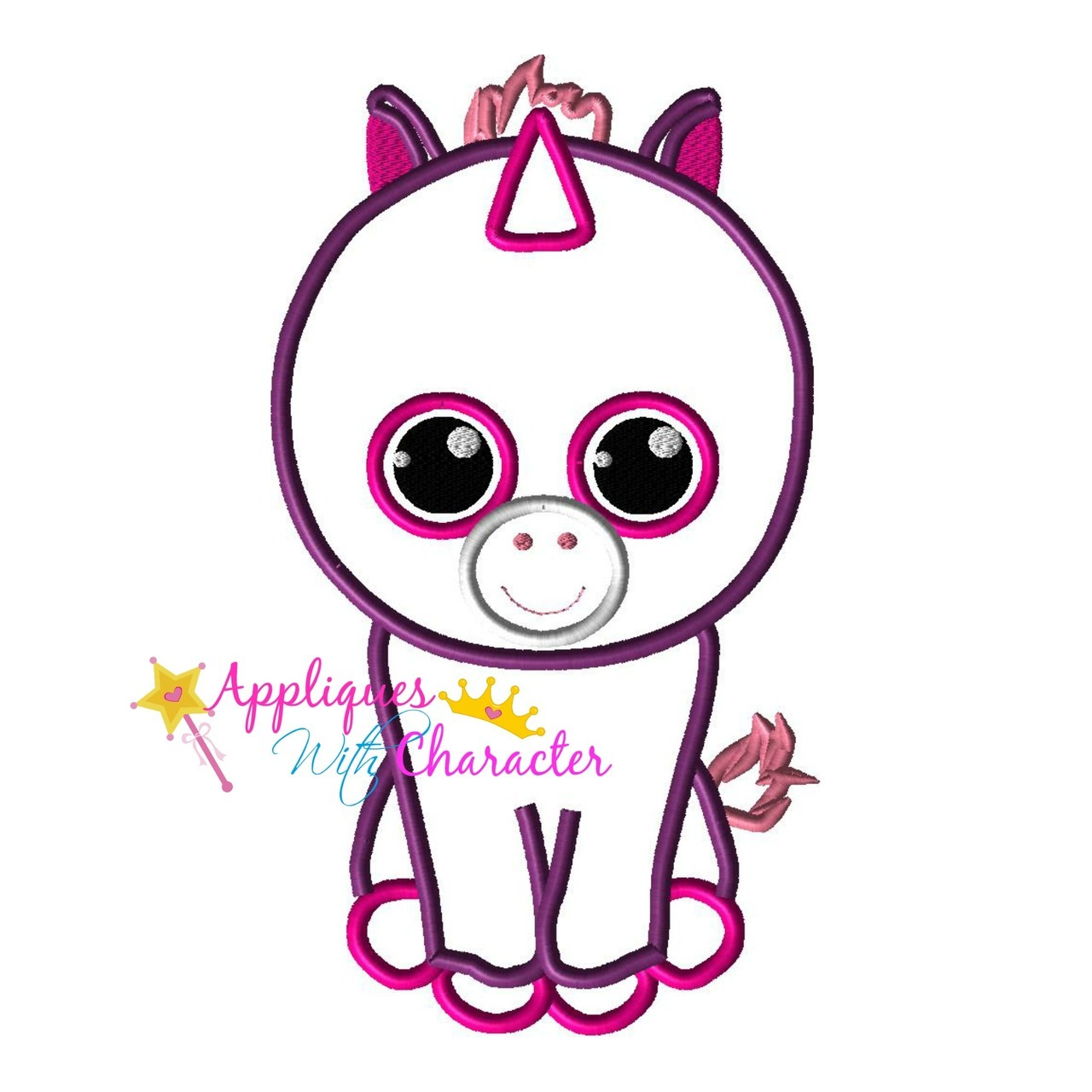 1280x1280 Beanie Boo Unicorn Applique Design By Appliques With Character
