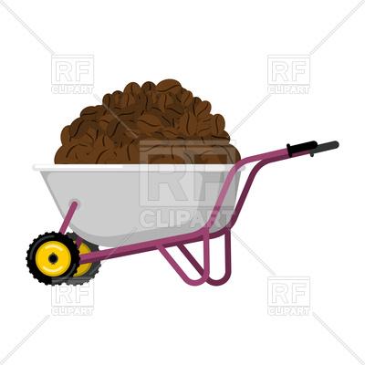 400x400 Wheelbarrow And Coffee Beans Royalty Free Vector Clip Art Image