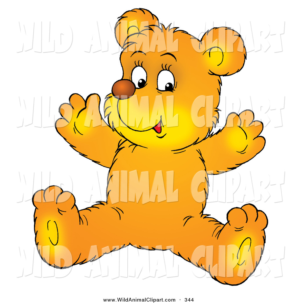 1024x1044 Clip Art Of A Cute And Happy Yellow Bear Cub Sitting On The Floor