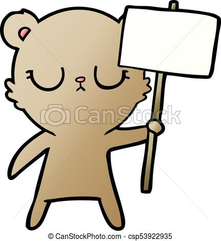 431x470 Peaceful Cartoon Bear Cub With Protest Sign Vectors