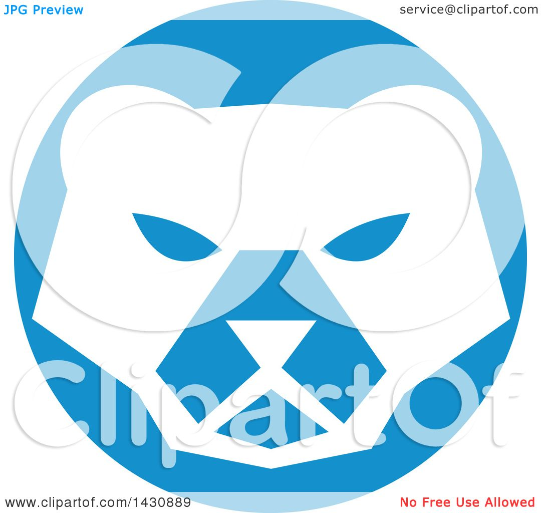 1080x1024 Clipart Of A Retro White Polar Bear Face In A Blue Circle