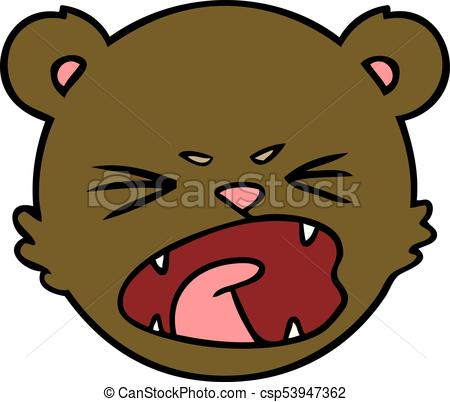 450x402 Cute Cartoon Teddy Bear Face Clip Art Vector