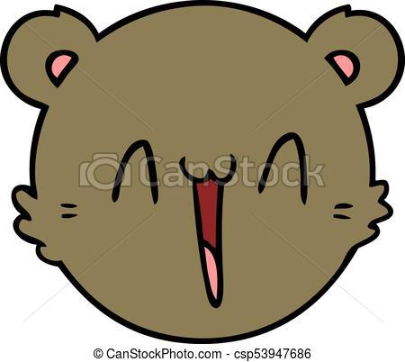 450x402 Cute Cartoon Teddy Bear Face Vector